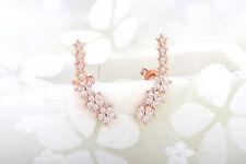 925 Sterling Silver Women Jewelry Long Star Crystal Elegant Ear Stud Earrings