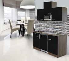 Mini Cucina Angolo Cottura Blocco 150cm Rovere York Nero Respekta