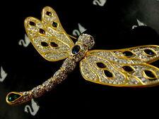 Signed Swarovski Crystal Dragonfly Pin~Brooch Rare Retired 22Kt Gold Plating!