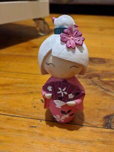 Oriental Japanese Geisha Doll With Kimono Figurine Pink White