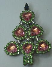 Christbaum Strass Brosche Weihnachtsbaum Christmas tree Brooch Gablonz Nr.60