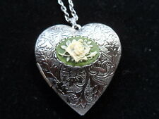 ANTIQUE SILVER ROSE CAMEO HEART LOCKET CREAM ON GREEN