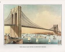 """1972 Vintage Currier & Ives """"NY NYC EAST RIVER BRIDGE"""" Color Print Lithograph"""