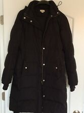 J. Crew Women's Size XS Long Puffer Winter Jacket Coat Black with waist strap