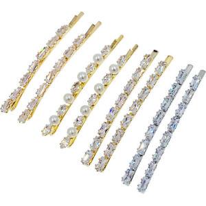 Simple Bobby Pin Hairpin made with Swarovski Crystal Wedding Bridal Silver Gold