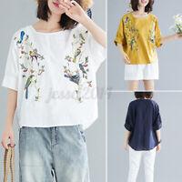 Mode Femme Chemise brodée Manche 3/4 Chauve-souris Mince Loose T-shirt Haut Plus