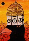 ACEO ORIGINAL Painting~CROW~SUNSET~DUOMO LOOKOUT HAT~FIGURATIVE~OUTSIDER~SMOODY