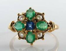 RARE COMBO 9CT GOLD SAPPHIRE  EMERALD & PEARL VICTORIAN INS RING FREE RESIZE