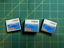 Micron Crucial Brand 1GB 512MB 256MB CF Compact Flash Card Tested Used Type I