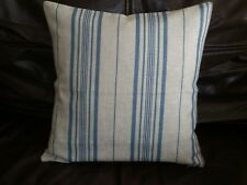 "16"" COTTON/LINEN CUSHION COVER MADE WITH JOHN LEWIS BLUE STRIPED FABRIC--"