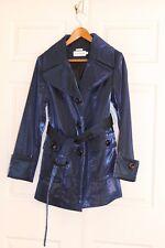 Hilary radley Jacket Metallic Blue Trench Coat Medium