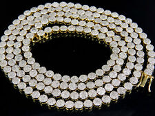 Mens Ladies Solid Yellow Gold Pave 1 Row Real Diamond Chain Necklace 7.5 ct 24""