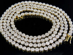 """Mens Ladies Solid Yellow Gold Pave 1 Row Real Diamond Chain Necklace 7.5 ct 24"""""""