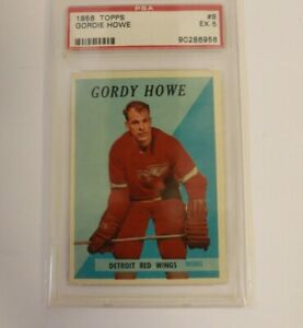 1958 Topps Hockey #8 Gordie Howe Detroit Red Wings HOF PSA 5