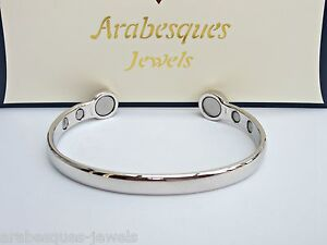 ARABESQUES Super strong BIO magnetic bangle/bracelet. Silver ladies/mens ajmb