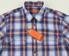 Men's HUGO BOSS ORANGE White Red Blue Plaid Shirt Medium M NWT NEW $145+ CalifoE