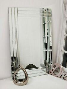 Large Wall mirror Bevelled Triple Edge mirror Strips frameless elegant two size