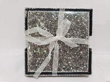 Christmas Beaded Gun Metal Coasters with Box Set of 4