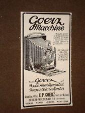 Pubblicità d'Epoca per Collezionisti del 1906 Macchina fotografica Goerz