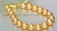 AAA charming 10-11mm south sea round gold pearl bracelet 7.5'' S925 silver clasp
