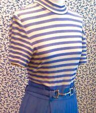 CACHE Lovely Women 's Blue &White Stripe SPANDEX TOP,STRAIGHT LEG JUMPSUIT, 10