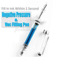 Wing Sung 3013 Vaccum Fountain Pen Transparent EF/M/F Nib Ink Pen Writing 🔥 ^