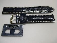 New Longines Blue 16mm Glossy Blue Leather Watch Strap Band w/SS Buckle Pins Tag
