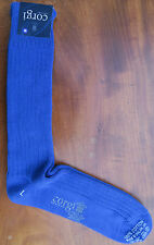 Corgi Mens Cotton Socks Size Large Plain Ribbed Blue Made in Wales Medium Thick