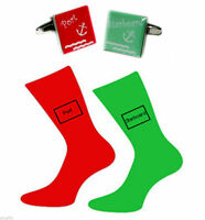 Green & Red Port & Starboard Cufflinks and Socks Gift Set Nautical Gift Sailors