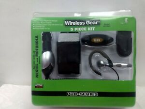 Wireless Gear 5pc Kit for Nextel and Motorola Cellphones Charger Headset Holder