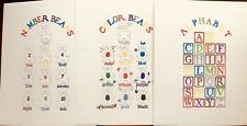 FINE ART LITHOGRAPH: Set of 3 Prints For The Baby's Room Numbers, Letters Colors