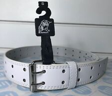 """leather belt white two hole Strong Lock Small Size 26"""" To 35"""" 92cm Long"""