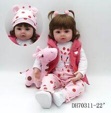 """22"""" Handmade Vinyl Reborn Baby Toddler Dolls Lifelike Sweet Girl Doll +Plush Toy"""