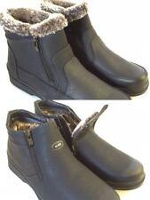 Men's Winter Boots Black Fur Lined Dual Side Zipper Ankle Warm Snow Shoes 7.5-13