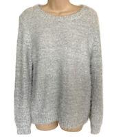 Lauren Michelle Sweater Women's Small Fuzzy Crew Neck Pullover White Silver