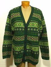 women's UNITED COLORS OF BENETTON Fair Isle cardigan sweater Shetland Wool LARGE