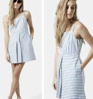 Topshop Blue & White Striped Button Dress Size 12