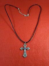 Cross Pendant (12) Necklaces Rhinestone Leather Cord Jewelry Fund Raising Lot