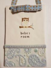 Grasslands Road Bebe's Room Ceramic Plaque Owl Baby Door Hanger Sign w/Stand
