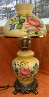 Vintage Hurricane Chamber Gone With The Wind Lamp Hand-Painted Yellow Floral