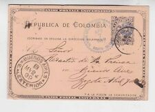 columbia 1899 stationery from bogota to argentina    a2185