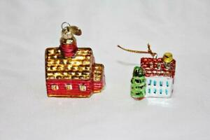 Two Small Houses Shiny Christmass Tree Ornaments Dept 56 and one Ceramic
