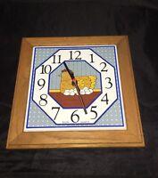 "Elgin Clock Ceramic Chicken Oak Framed Blue Background 11""x11"""