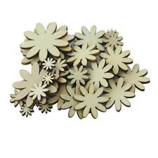 50pcs Natural Wooden Shape Flowers for Craft Embellishments Scrapbooking