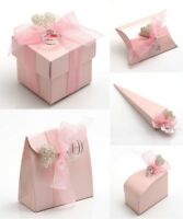 Wedding Party Favour Baby Shower Christening Gift Boxes Pearlised Pink Satin