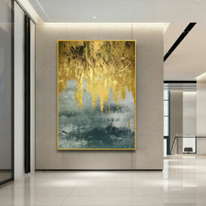 LL092 Home decor abstract gold foil oil painting Hand-painted Unframed