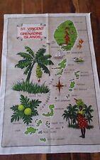 Vintage linen tea towel St Vincent Grenadine Caribbean Islands beautiful colours