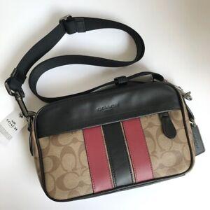 Coach * Men's Bag F85037 QBPO3 Graham Crossbody Sig Crossbody Varsity QB/Tan/Red