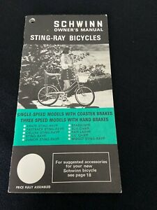 Vintage Authentic 1971 Schwinn Sting-Ray Bike Owner's Manual  Warranty, Receipt