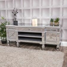 Large Mirrored Silver Television Stand TV Unit Furniture Glass Cabinet Home Chic